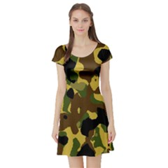 Camo Pattern  Short Sleeve Skater Dress
