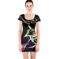 Futuristic Galaxy Dance  Short Sleeve Bodycon Dress