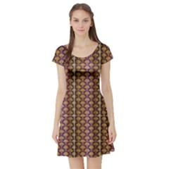 Purplegoldsaripattern1 Ss Skater Dress Short Sleeve Skater Dress