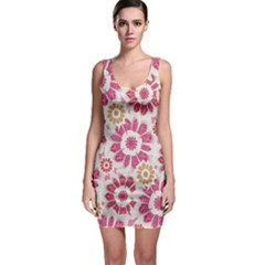 Floral Print Collage Pink Bodycon Dress
