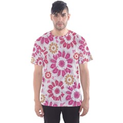 Floral Print Collage Pink Men s Sport Mesh Tee