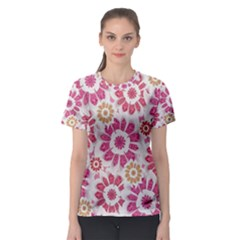 Floral Print Collage Pink Women s Sport Mesh Tee