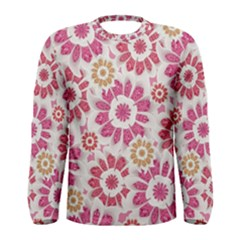 Floral Print Collage Pink Pink Long Sleeve T-shirt (Men)
