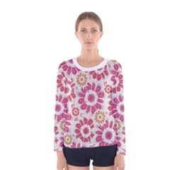 Floral Print Collage Pink Pink Long Sleeve T-shirt (Women)
