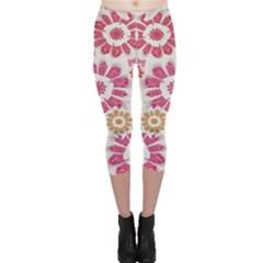 Floral Print Collage Pink Pink Capri Leggings