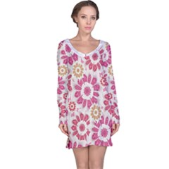 Floral Print Collage Pink Pink Long Sleeve Nightdress