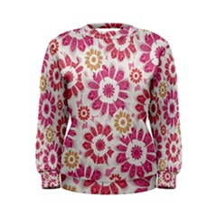 Floral Print Collage Pink Women s Sweatshirt