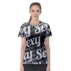 Typographic Collage Pattern Women s Sport Mesh Tee