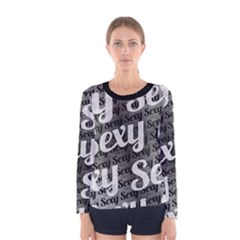 Typographic Collage Pattern Long Sleeve T Shirt (women)