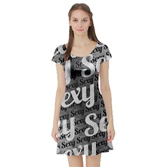 Typographic Collage Pattern Short Sleeve Skater Dress