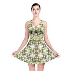 Neo Noveau Style Floral Print Reversible Skater Dress