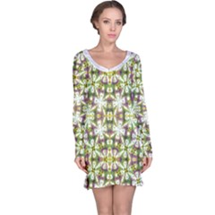 Neo Noveau Style Floral Print Long Sleeve Nightdress