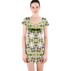 Neo Noveau Style Floral Print Short Sleeve Bodycon Dress