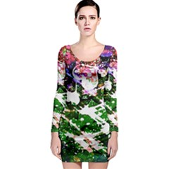Officially Sexy Floating Hearts Collection Green Long Sleeve Bodycon Dress
