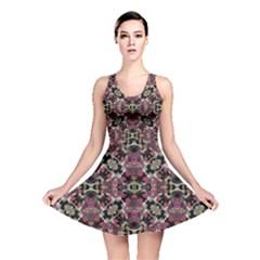Floral Arabesque Print Reversible Skater Dress
