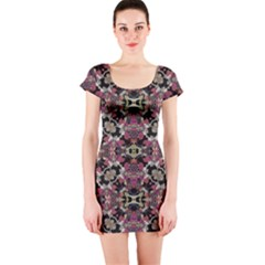 Floral Arabesque Print Short Sleeve Bodycon Dress