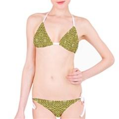 Golden Geometric Floral Print Bikini