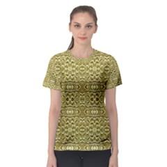 Golden Geometric Floral Print Women s Sport Mesh Tee