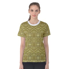 Golden Geometric Floral Print Women s Cotton Tee