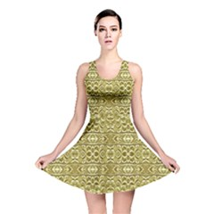 Golden Geometric Floral Print Reversible Skater Dress