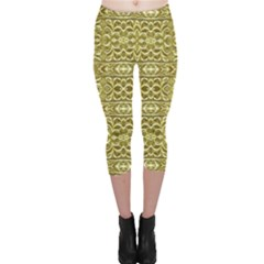 Golden Geometric Floral Print Capri Leggings