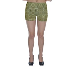 Golden Geometric Floral Print Skinny Shorts