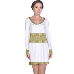 Golden Geometric Floral Print Long Sleeve Nightdress