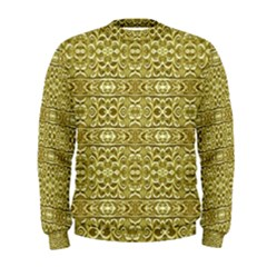 Golden Geometric Floral Print Men s Sweatshirt