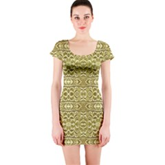 Golden Geometric Floral Print Short Sleeve Bodycon Dress