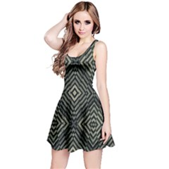 Geometric Futuristic Grunge Print Sleeveless Dress