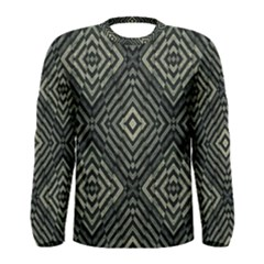 Geometric Futuristic Grunge Print Long Sleeve T Shirt (men)