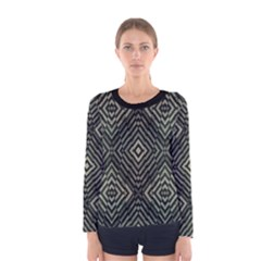 Geometric Futuristic Grunge Print Long Sleeve T-shirt (Women)