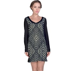 Geometric Futuristic Grunge Print Long Sleeve Nightdress