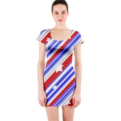 Usa Pattern Print Short Sleeve Bodycon Dress