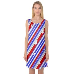 Usa Pattern Print Sleeveless Satin Nightdress