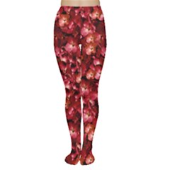 Warm Floral Collage Print Tights