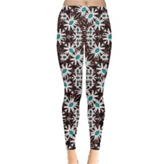 Modern Floral Geometric Pattern Leggings