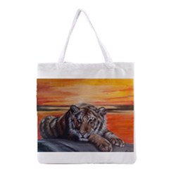 Tiger at Sunset Grocery Tote Bag