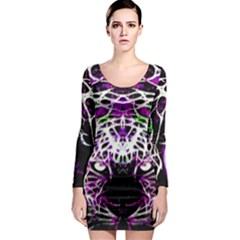 Officially Sexy Panther Collection Purple Long Sleeve Bodycon Dress