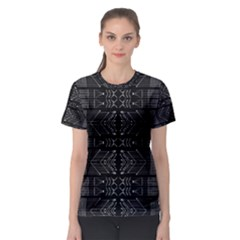Black and White Tribal Print Women s Sport Mesh Tee