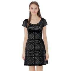 Black and White Tribal Print Short Sleeve Skater Dress
