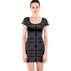 Black and White Tribal Print Short Sleeve Bodycon Dress