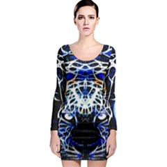 Officially Sexy Panther Collection Blue Long Sleeve Bodycon Dress