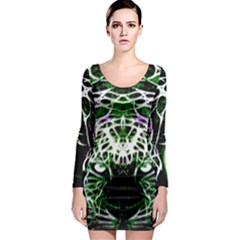 Officially Sexy Panther Collection Green Long Sleeve Bodycon Dress