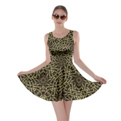 Celtic Golden Arabesque Print Skater Dress