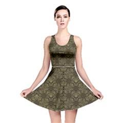 Celtic Golden Arabesque Print Reversible Skater Dress