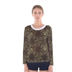 Celtic Golden Arabesque Print Long Sleeve T-shirt (Women)
