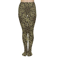 Celtic Golden Arabesque Print Tights