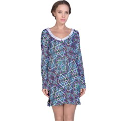 Colorful Geometric Print Long Sleeve Nightdress
