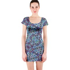 Colorful Geometric Print Short Sleeve Bodycon Dress